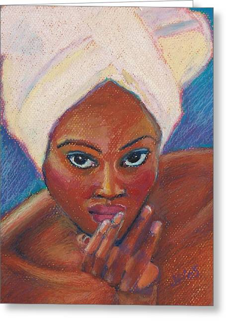 Experiment Greeting Cards - Black Lady in Pastel Greeting Card by Janet Ashworth