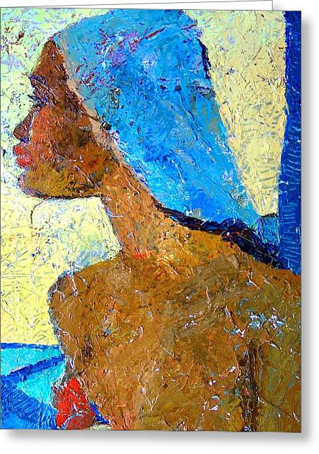 Black Lady With Blue Head-dress Greeting Card by Janet Ashworth