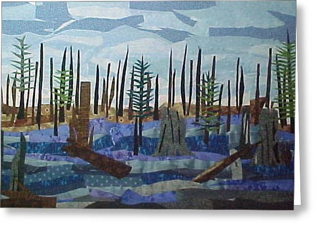 Lake Tapestries - Textiles Greeting Cards - Black Lake Greeting Card by Charlene White