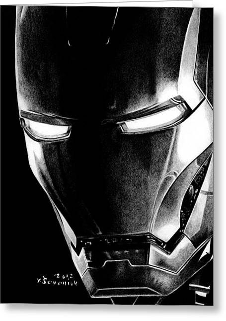 Black Led Avenger Greeting Card by Kayleigh Semeniuk