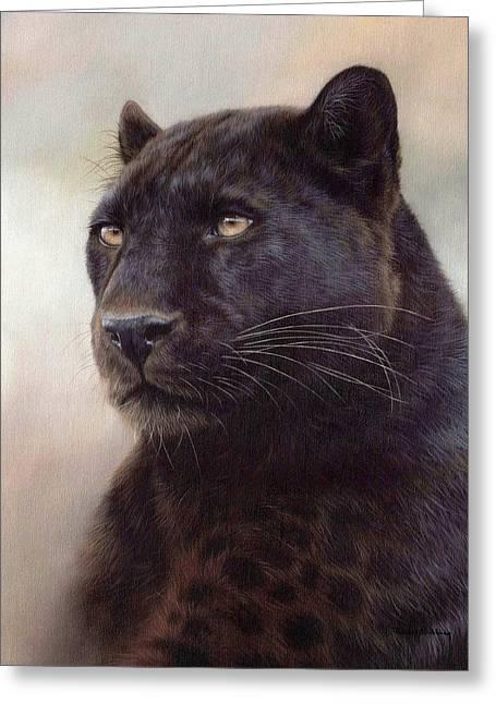 Jaguars Paintings Greeting Cards - Black Leopard Painting Greeting Card by Rachel Stribbling