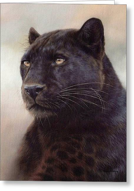 Leopards Greeting Cards - Black Leopard Painting Greeting Card by Rachel Stribbling