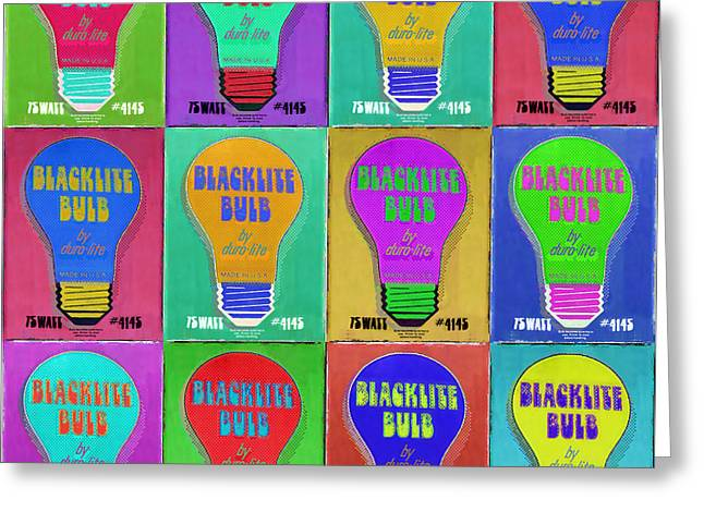 Silk Screen Greeting Cards - Black Light Bulbs Poster Greeting Card by Tony Rubino