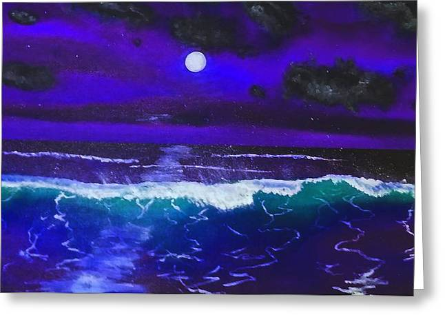 Wind Surfing Art Paintings Greeting Cards - Black Light Night Greeting Card by Bolinky Art
