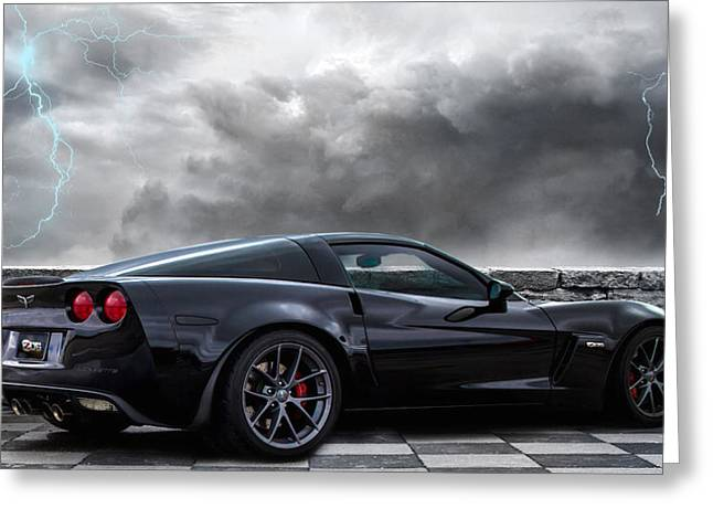 American Muscle Car Greeting Cards - Black Lightning Greeting Card by Peter Chilelli