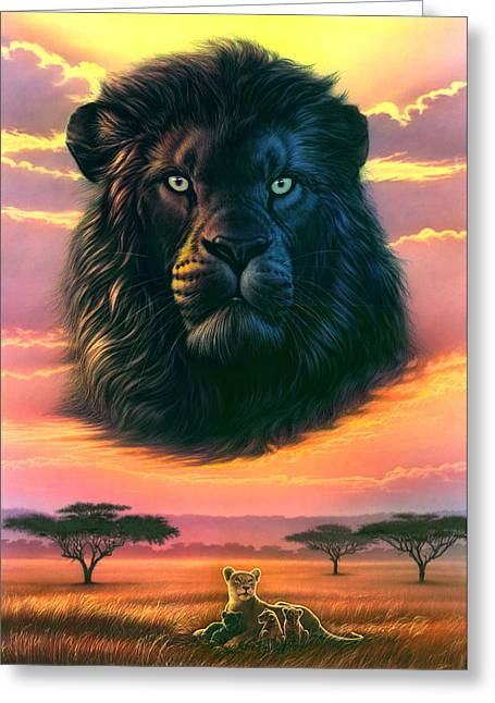 Lioness Greeting Cards - Black Lion Greeting Card by Andrew Farley