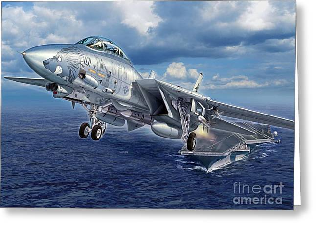 Carrier Digital Art Greeting Cards - Black Lion Launch - F-14D Greeting Card by Stu Shepherd