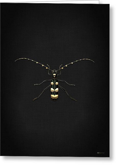 Vintage Accents Greeting Cards - Black Longhorn Beetle with Gold Accents on Black Canvas Greeting Card by Serge Averbukh