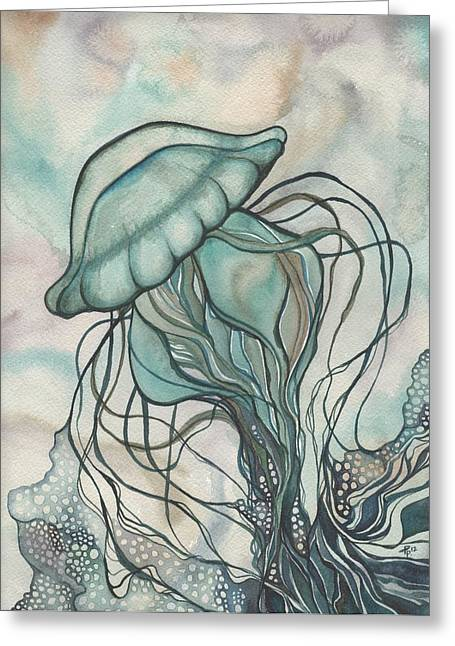 Whimsical. Greeting Cards - Black Lung Green Jellyfish Greeting Card by Tamara Phillips