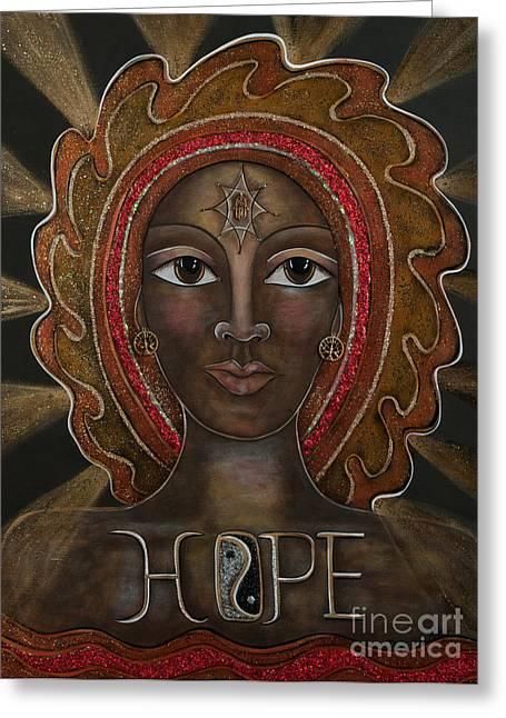 Contemporary Symbolism Greeting Cards - Black Madonna - Hope Greeting Card by Deborha Kerr