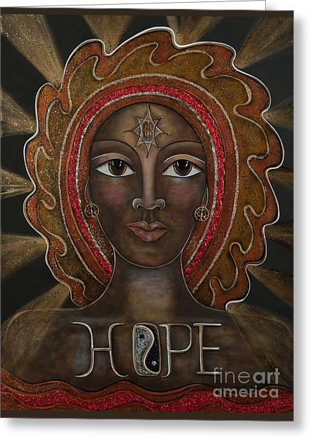 Contemporary Symbolism Greeting Cards - Black Madonna - Hope Greeting Card by Deborha Kerr