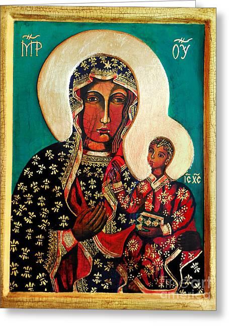 Virgin Mary Greeting Cards - Black Madonna of Czestochowa Icon II Greeting Card by Ryszard Sleczka