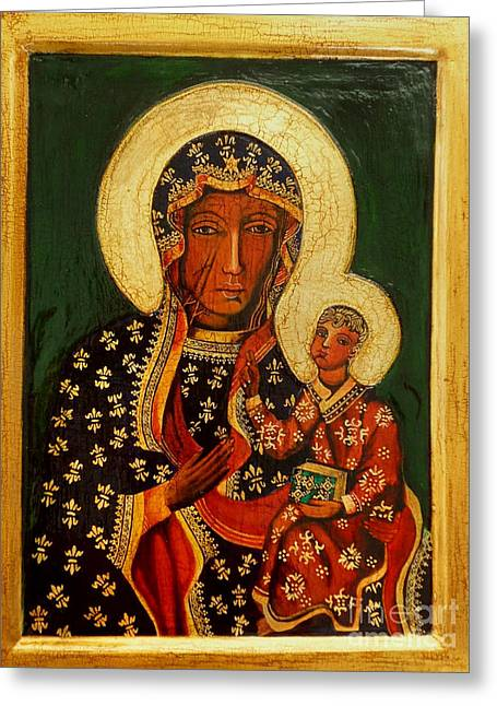 Black Madonna Of Czestochowa Icon Greeting Card by Ryszard Sleczka