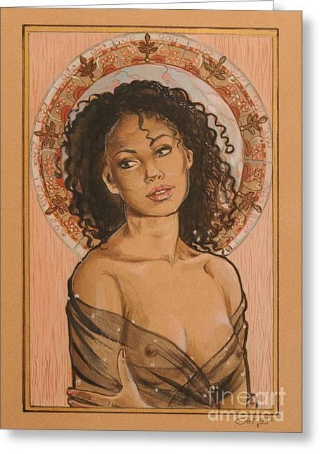 Ottilia Zakany Greeting Cards - Black Madonna Greeting Card by Ottilia Zakany