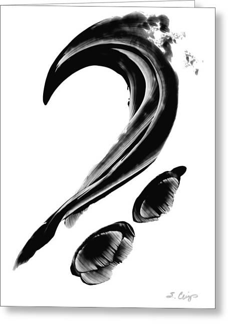 Lyrical Greeting Cards - Black Magic 300 - Black And White Art Greeting Card by Sharon Cummings