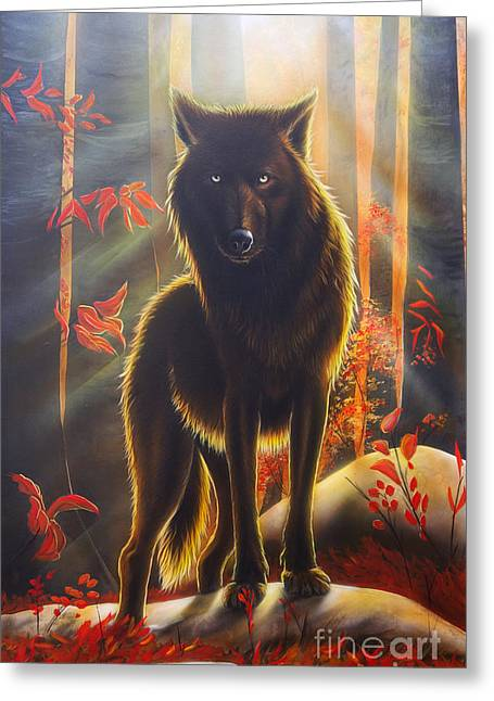Canis Greeting Cards - Black Magic Greeting Card by Sandi Baker