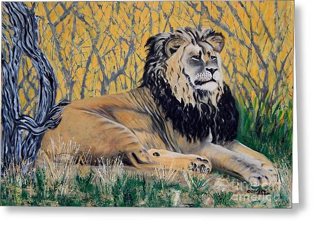 Carolinestreetart Greeting Cards - Black Maned Lion Greeting Card by Caroline Street