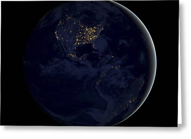 Planet Earth Photographs Greeting Cards - Black Marble Greeting Card by Adam Romanowicz