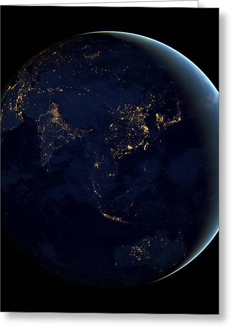 Planet Map Greeting Cards - Black Marble - Asia and Australia City Lights Greeting Card by World Art Prints And Designs