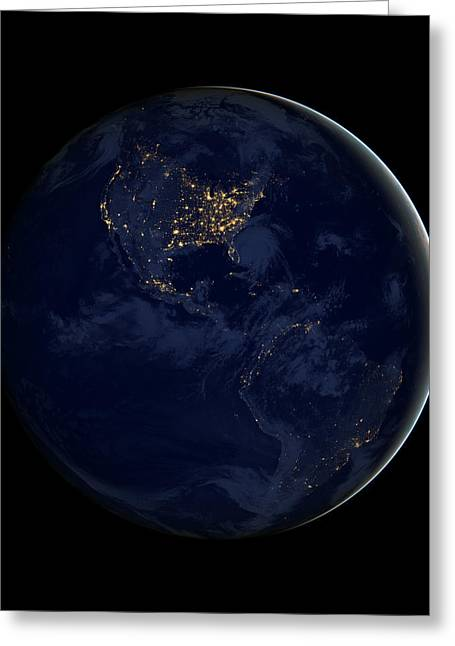 Planet Map Greeting Cards - Black Marble - City Lights Americas Greeting Card by World Art Prints And Designs