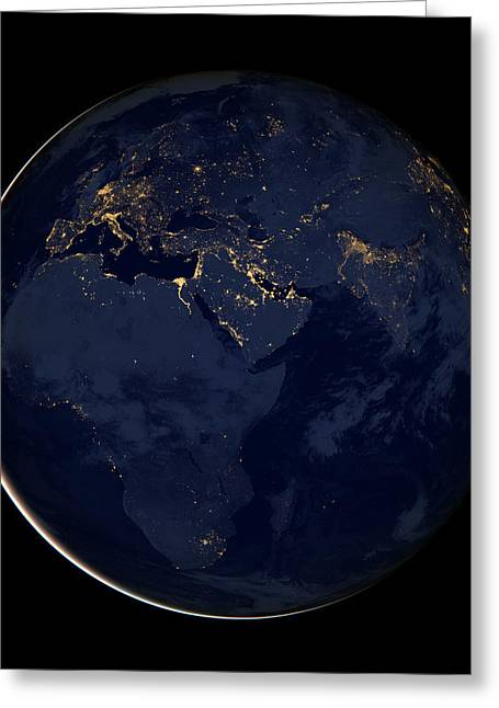 Planet Map Greeting Cards - Black Marble - Europe - Africa - Midddle East City Lights Greeting Card by World Art Prints And Designs