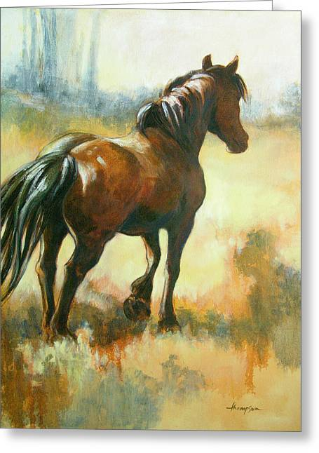 Draft Horse Greeting Cards - Black Mare in Summer Greeting Card by Tracie Thompson