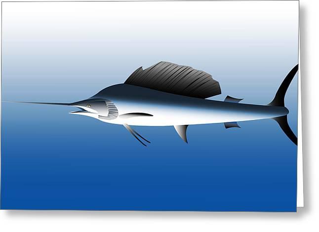 Black Marlin Greeting Cards - Black Marlin Greeting Card by Nigel Wakefield