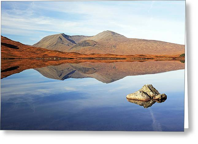 Black Mount Mountain Range Reflection Greeting Card by Grant Glendinning