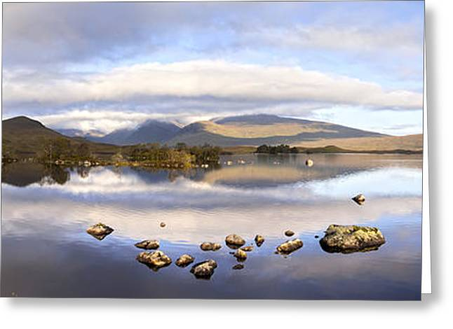 Rannoch Moor Greeting Cards - Black Mount Panorama Greeting Card by Colin and Linda McKie