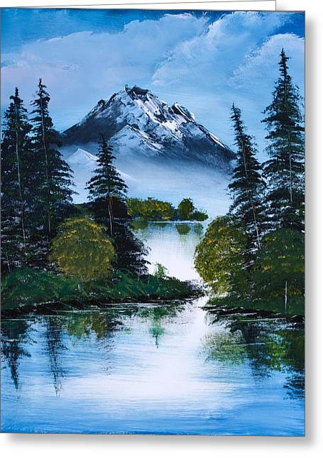 Bob Ross Paintings Greeting Cards - Black Mountain Greeting Card by Shannon Wells