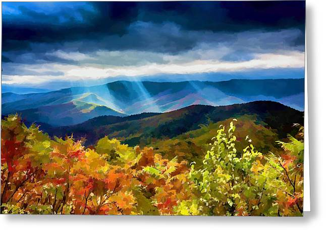 Appalachia Greeting Cards - Black Mountains Overlook on the Blue Ridge Parkway Greeting Card by John Haldane