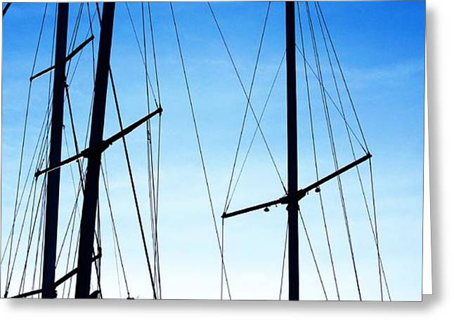 Black N Blue Hour Of Sailing Ships Greeting Card by Rosemarie E Seppala