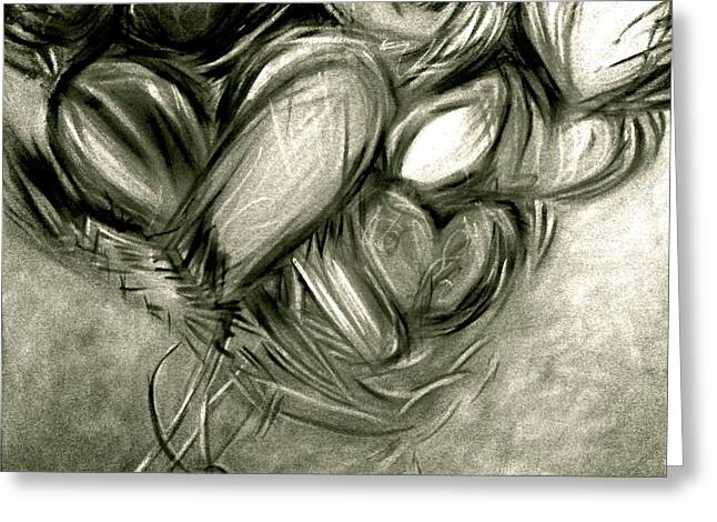 Black N' White-hearts Soar-thinking Of You Greeting Card by Juliann Sweet