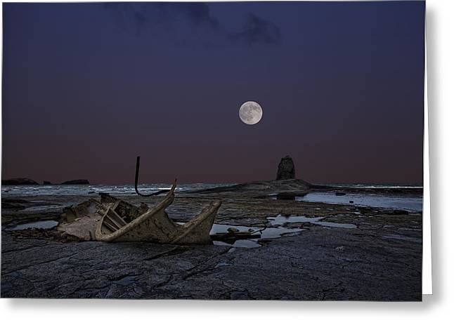 Black Nab and the wreck of the Admiral Von Tromp Greeting Card by Graham Moore
