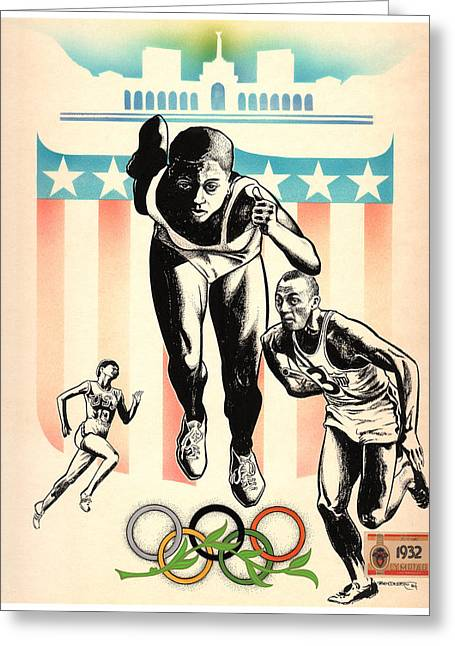 Rudolph Mixed Media Greeting Cards - Black Olympians Greeting Card by Ben De Soto