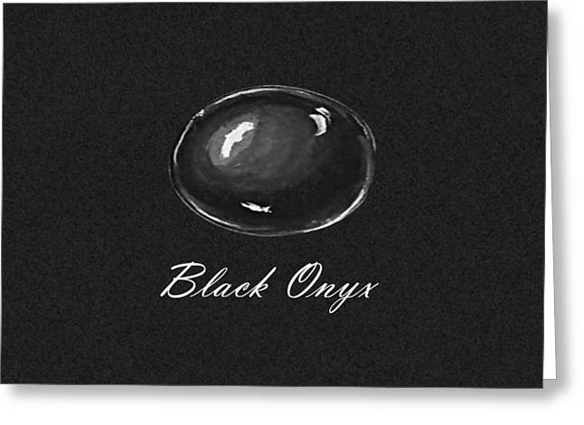 Carat Paintings Greeting Cards - Black Onyx Cabochon Black Greeting Card by Marie Esther NC
