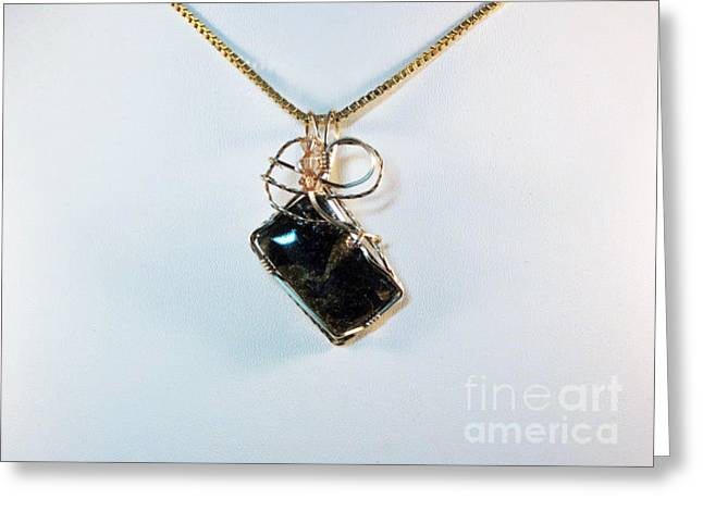 Wirework Jewelry Greeting Cards - Black Onyx/Pyrite Natural Stone Pendant  Greeting Card by Holly Chapman