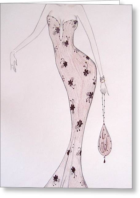 Black Orchid Gown Greeting Card by Christine Corretti