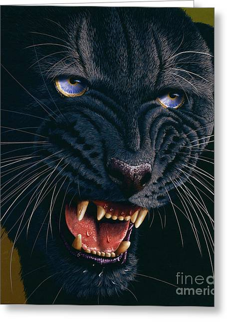 Wildcat Greeting Cards - Black Panther 2 Greeting Card by Jurek Zamoyski