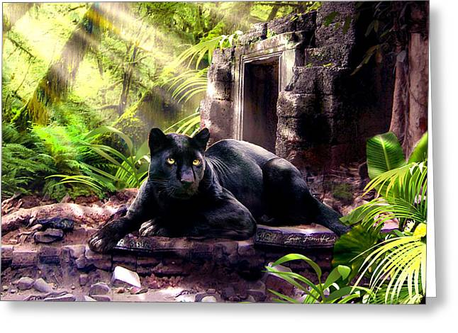 Large Cats Greeting Cards - Black Panther Custodian of Ancient Temple Ruins  Greeting Card by Gina Femrite