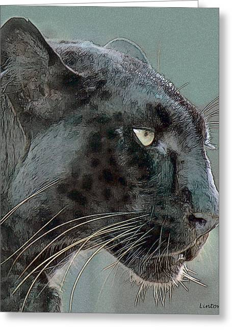 Black Leopard Greeting Cards - Black Panther Greeting Card by Larry Linton