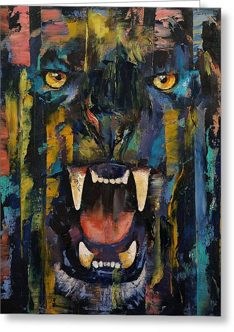Black Panther Greeting Card by Michael Creese