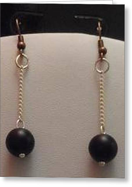 Black-and-white Jewelry Greeting Cards - Black Pearl and White Chain Dangle Earrings Greeting Card by Kimberly Johnson