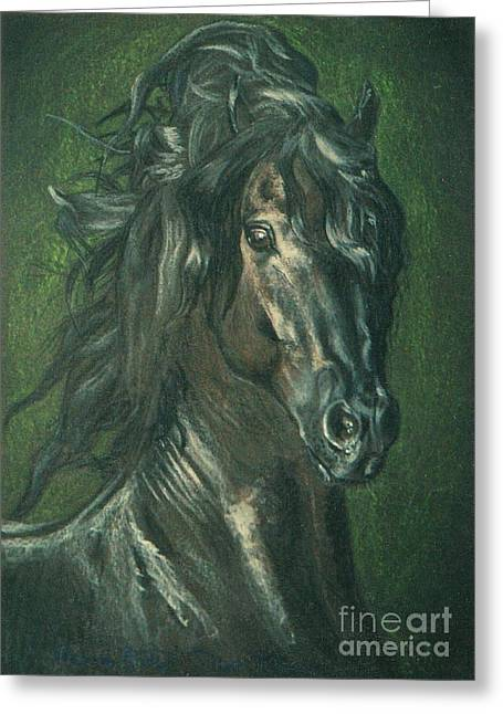 Equestrian Prints Pastels Greeting Cards - Black Pearl- fresian stallion Greeting Card by Dorota Zdunska