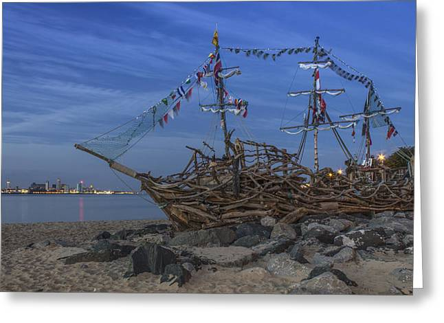 Pirate Ship Greeting Cards - Black Pearl Pirate Ship Greeting Card by Paul Madden
