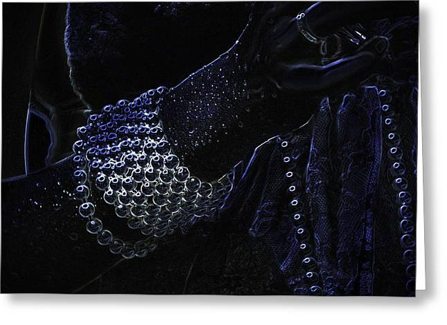 Enigmatic Greeting Cards - Black Pearls. Black Art Greeting Card by Jenny Rainbow