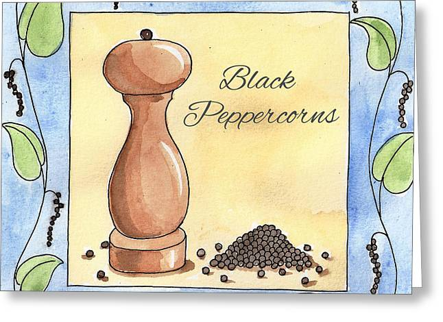Yellow Pepper Greeting Cards - Black Peppercorns Kitchen Art Greeting Card by Christy Beckwith