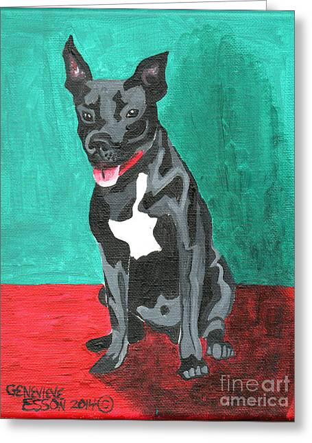 Animal Paw Print Greeting Cards - Black Pit Bull Terrier Greeting Card by Genevieve Esson