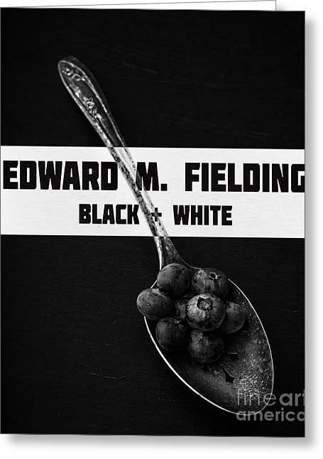 Blueberries Greeting Cards - Black Plus White Book Cover Greeting Card by Edward Fielding