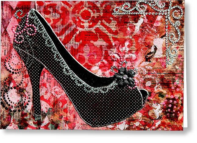 Polkadots Greeting Cards - Black polka dot shoes with red abstract background Greeting Card by Janelle Nichol